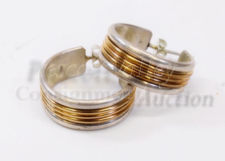 Lot 135: 13.2 Gram Navajo Sterling Silver and 1/20 12K Gold Filled Hoop Post Earrings Signed Tom Hawk