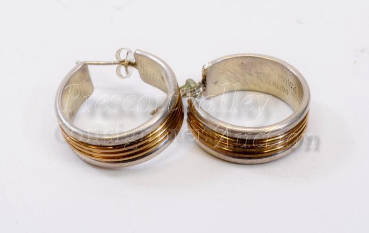 13.2 Gram Navajo Sterling Silver and 1/20 12K Gold Filled Hoop Post Earrings Signed Tom Hawk