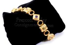 """Lot 136: 23.2 Gram Gold Washed Sterling Silver and Multi Stone 7.5"""" Bracelet"""