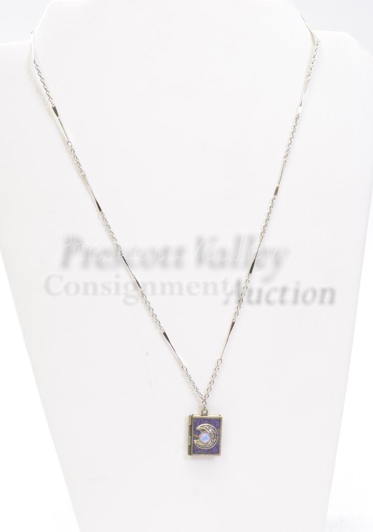 Lot 140: Vintage Silver Tone Costume Jewelry and Capped Opal Pendant with I Love You in Different Languages