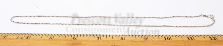 "Lot 141: Sterling Silver 20"" Box Chain Necklace"