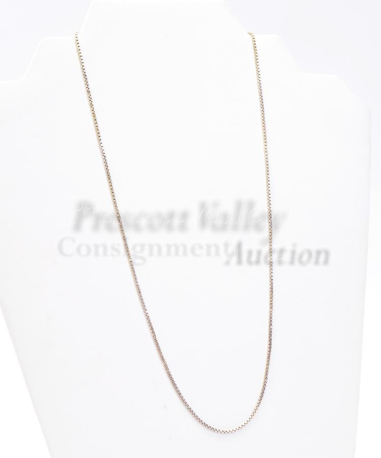 "Sterling Silver 20"" Box Chain Necklace"