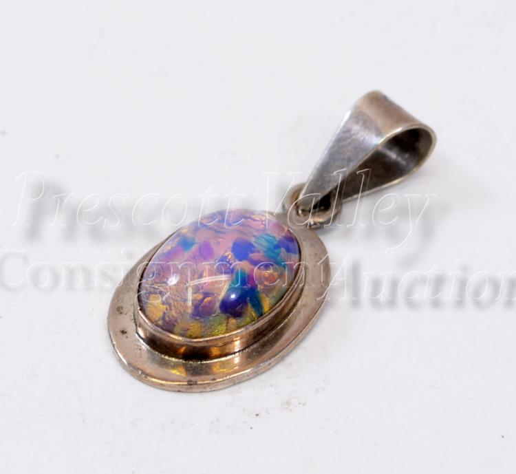 9.6 Gram Mexican Taxco TC-126 Sterling Silver and Capped Opal Pendant