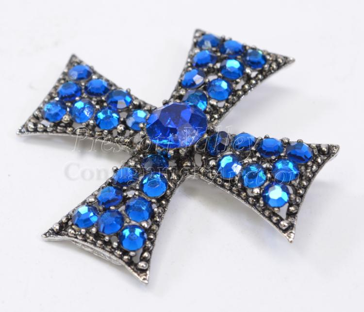 Vintage Weiss Silver Tone Costume Jewelry and Blue Rhinestone Cross Pin Brooch