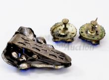 Lot 144: Victorian Era Silver Tone and Blue Rhinestone Costume Jewelry Suite Clip Brooch and Screw Back Earrings