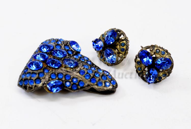 Victorian Era Silver Tone and Blue Rhinestone Costume Jewelry Suite Clip Brooch and Screw Back Earrings