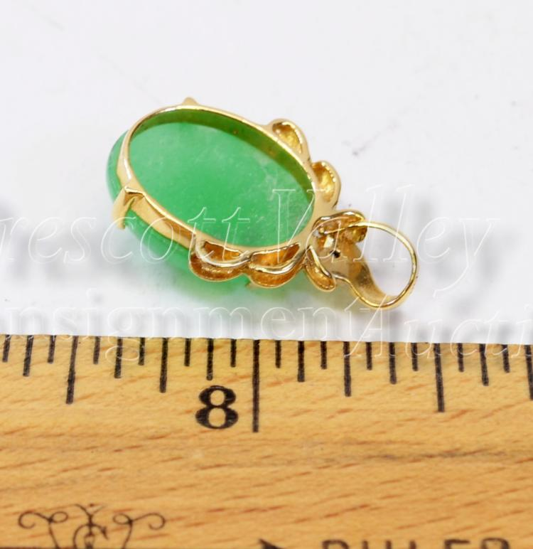 Lot 147: 3.4 Gram 14K Yellow Gold Chip Diamond and Jade Pendant
