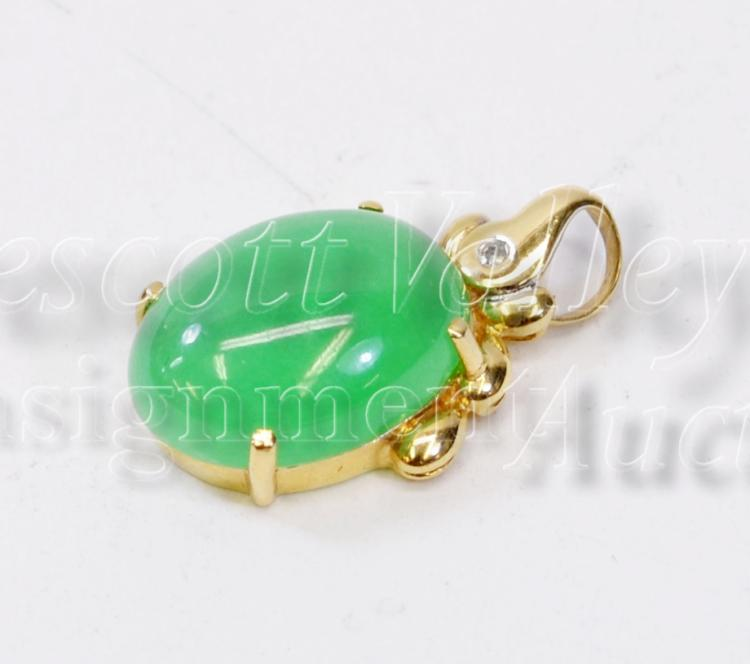 3.4 Gram 14K Yellow Gold Chip Diamond and Jade Pendant