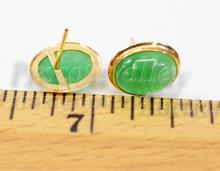 Lot 148: 1.9 Gram 14K Yellow Gold and Jade Cabochon Post Earrings One w/o Back