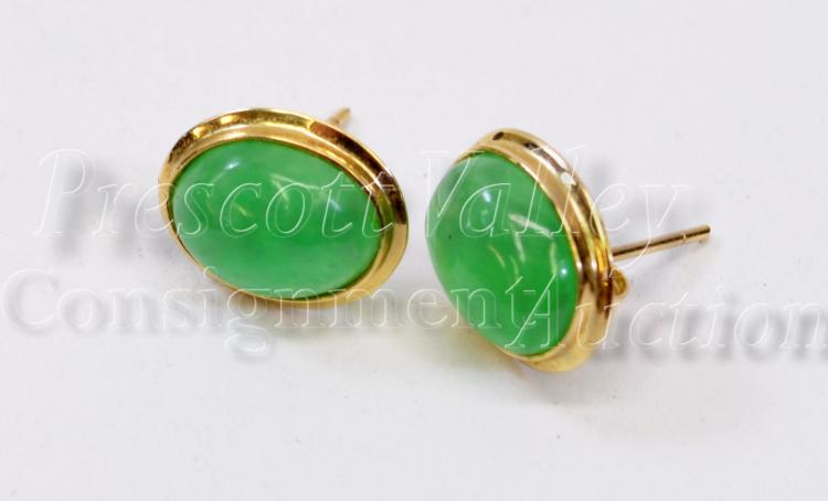 1.9 Gram 14K Yellow Gold and Jade Cabochon Post Earrings One w/o Back