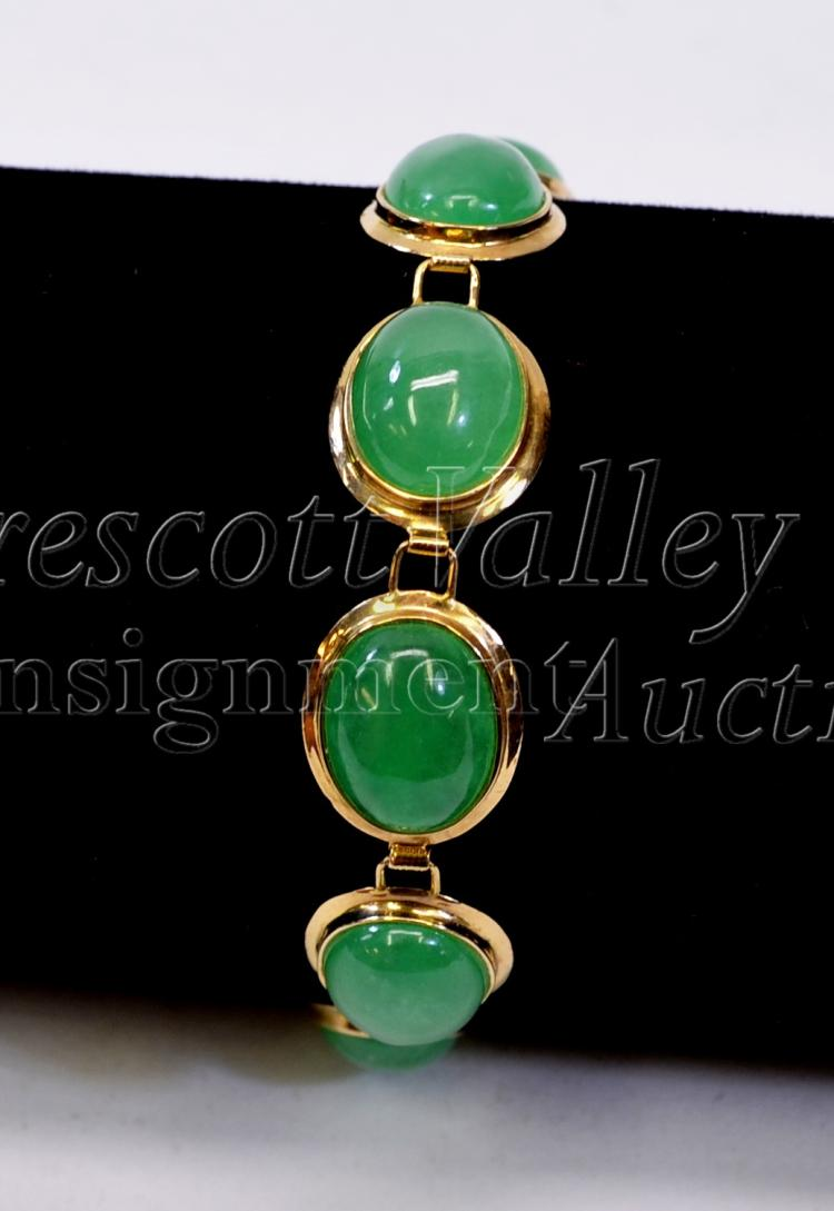 "Lot 149: 11.2 Gram 14K Yellow Gold and Jade 7.25"" Tennis Bracelet"