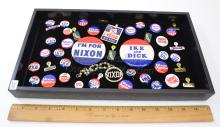 Lot 154: Lot of Vintage Political Buttons and Bracelet Nixon and Eisenhower Presidential Campaign