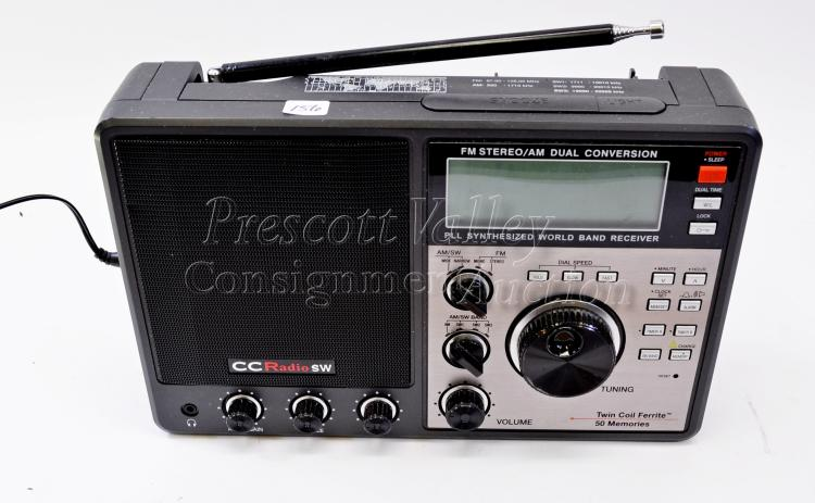 Lot 156: CC Radio SW AM/FM Dual Conversion PLL Synthesized World Band Receiver Twin Coil Ferrite 50 Memories Radio