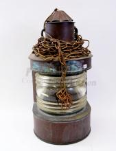 Lot 160: Vintage Brass and Clear Glass Shade Ships Lantern Converted into Hanging Light Fixture