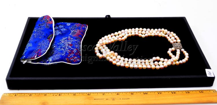 """Lot 161: Sterling Silver and Pearl Multi Strand Japanese 19"""" Necklace with Storage Pouch"""