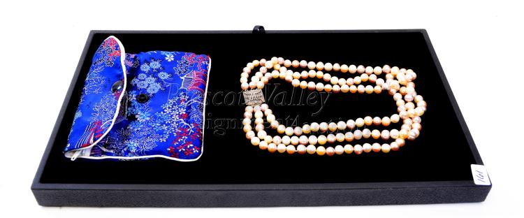 "Sterling Silver and Pearl Multi Strand Japanese 19"" Necklace with Storage Pouch"