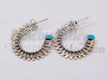 Lot 163: Sterling Silver and Turquoise Pierced Hoop Post Earrings