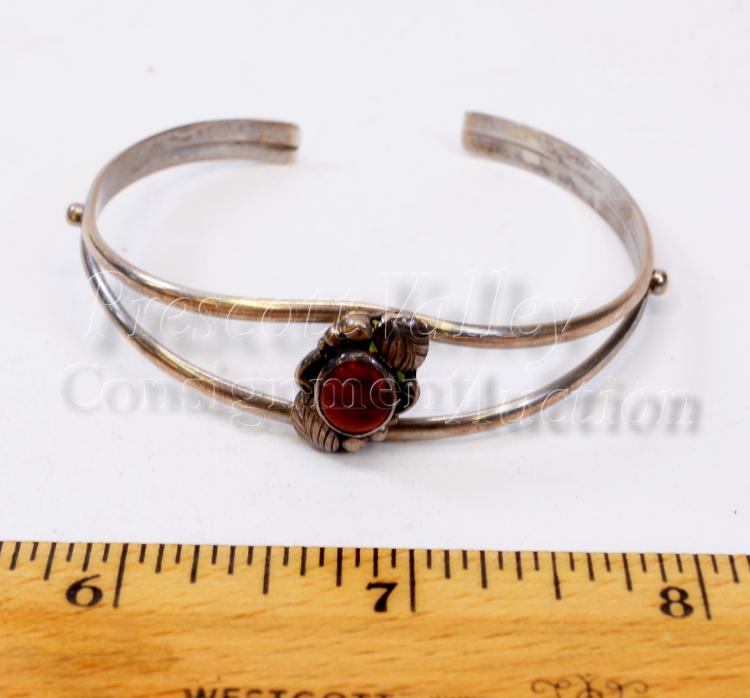 Lot 164: 9.5 Gram Navajo Sterling Silver and Coral Cuff Bracelet Signed Circle J.W.