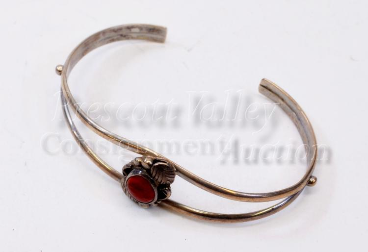 9.5 Gram Navajo Sterling Silver and Coral Cuff Bracelet Signed Circle J.W.