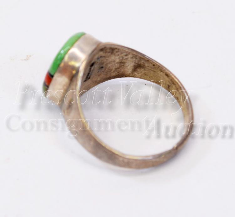 Lot 165: Navajo Sterling Silver Inlaid Green Turquoise Coral and MOP Ring Sz 10.5