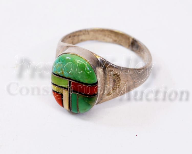 Navajo Sterling Silver Inlaid Green Turquoise Coral and MOP Ring Sz 10.5