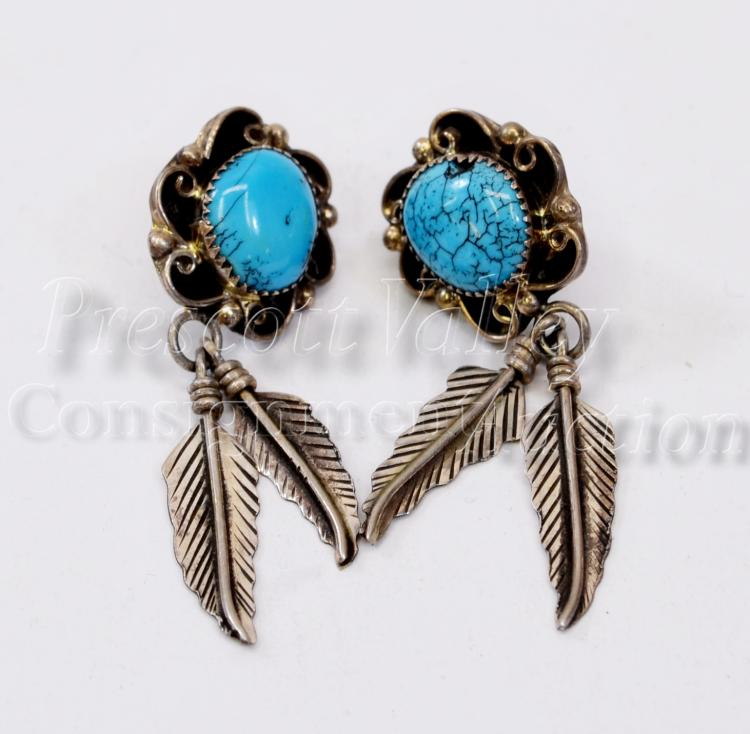 Navajo Sterling Silver and Turquoise Feather Dangle Post Earrings