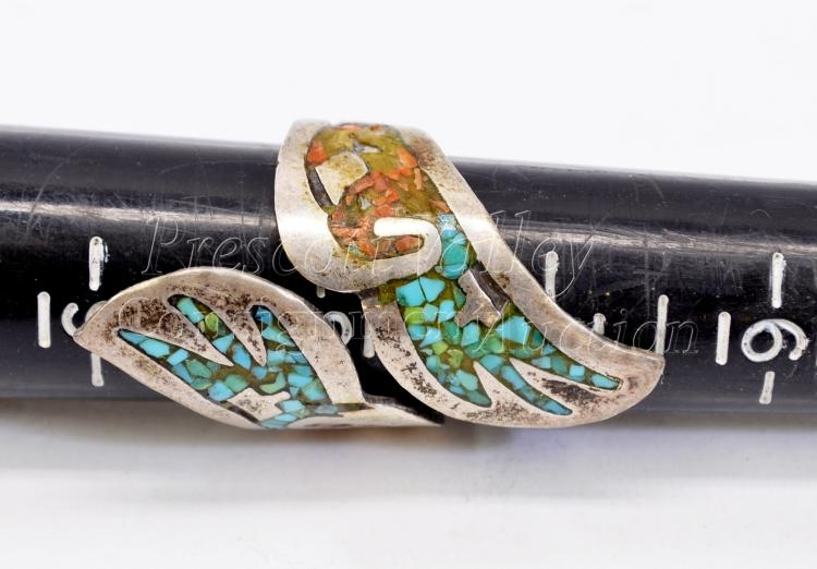 Lot 168: 9.2 Gram Vintage Sterling Silver Inlaid Chip Turquoise and Coral Ring Signed BP Sz 8