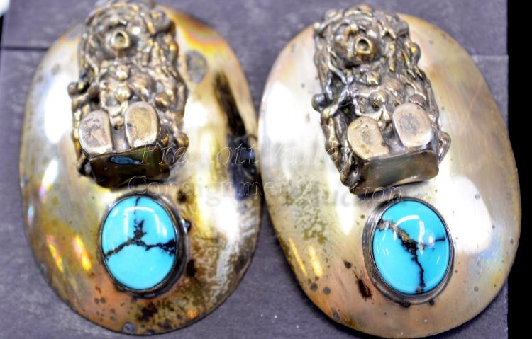 Lot 169: 23.9 Gram Navajo Sterling Silver and Turquoise Figural Concho Post Earrings Signed Circle J.W.