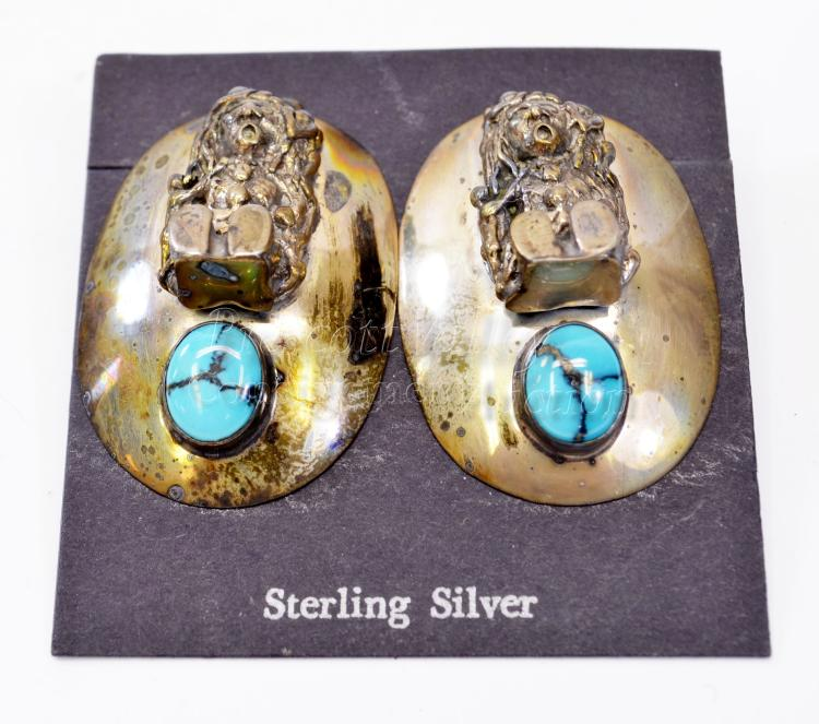23.9 Gram Navajo Sterling Silver and Turquoise Figural Concho Post Earrings Signed Circle J.W.