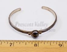 Lot 170: 9.6 Gram Navajo Hand Stamped Sterling Silver and Hematite Cuff Bracelet Signed N