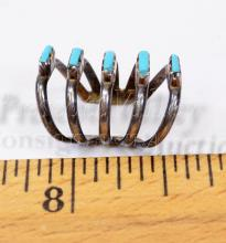 Lot 171: Navajo Old Pawn Sterling Silver and Turquoise Childs Ring Sz .25