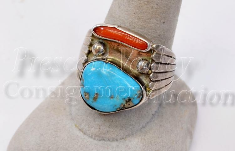 Lot 172: 7.6 Gram Navajo Sterling Silver Turquoise and Coral Ring Signed AD Sz 10.5