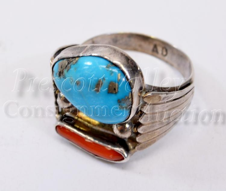 7.6 Gram Navajo Sterling Silver Turquoise and Coral Ring Signed AD Sz 10.5