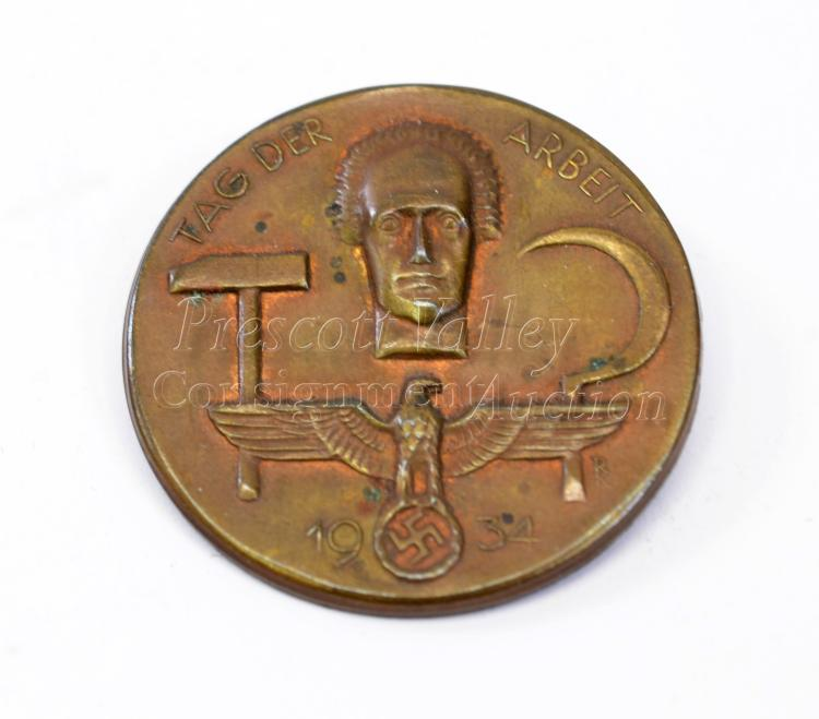 1934 Nazi German Tag Der Arbeit Brass Work Day Pin Back Badge Marked Oberstein
