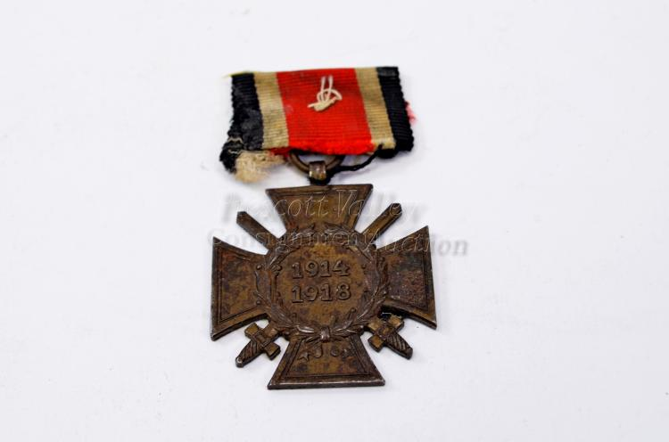 WWI German 1914 to 1918 Imperial Cross of Honor Military Award Medal with Ribbon No 44 Marked R.V. Pforzhein