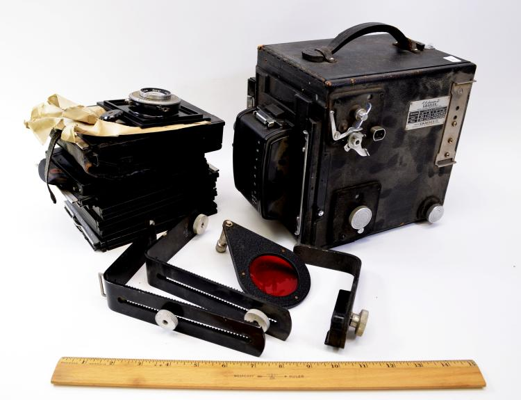 Vintage Super D Graflex Automatic Diaphragming Large Format Camera with Ektar Lenses Roll Holder Magazine and Plates