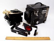 Lot 187: Vintage Super D Graflex Automatic Diaphragming Large Format Camera with Ektar Lenses Roll Holder Magazine and Plates