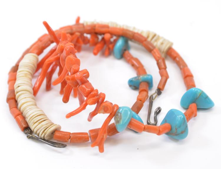 "Vintage Navajo Hand Crafted Turquoise Coral and Shell Bead 21"" Necklace"