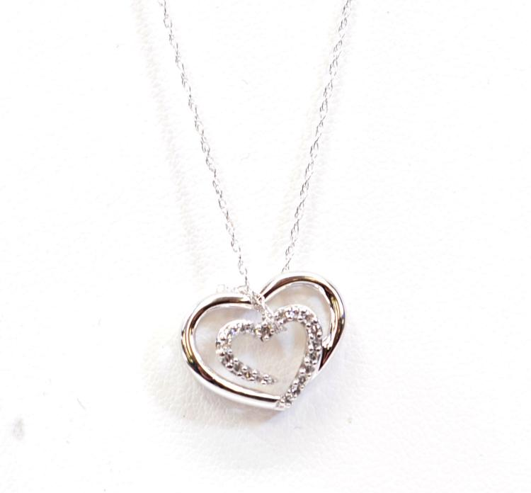"2.1 Gram 14K White Gold and Chip Diamond Heart Pendant on 18"" Fine Chain Necklace"