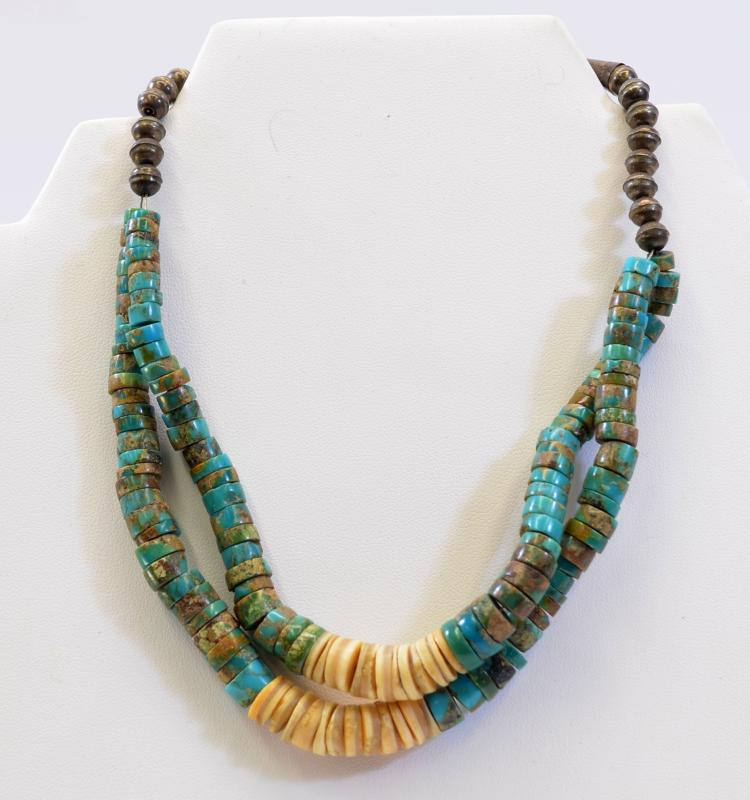 """Lot 190: Vintage Navajo Hand Formed Sterling Silver Bead Turquoise and Shell Multi Strand 14.75"""" Heishi Choker Necklace"""