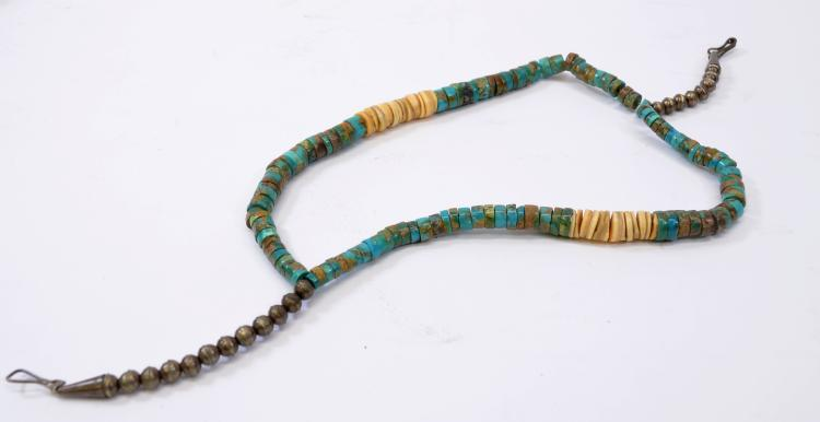 "Vintage Navajo Hand Formed Sterling Silver Bead Turquoise and Shell Multi Strand 14.75"" Heishi Choker Necklace"