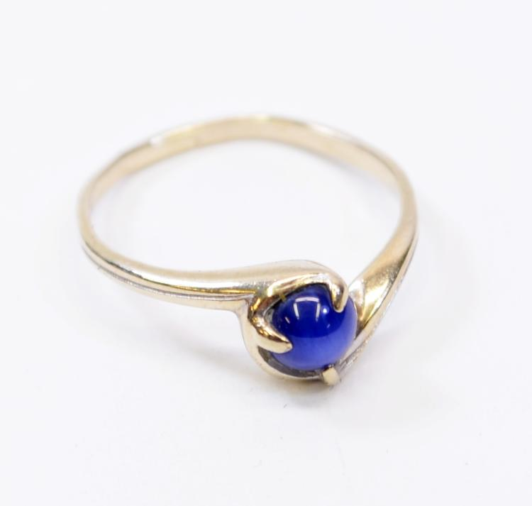 1.5 Gram 10K White Gold and Star Sapphire Ring Signed SA Sz 5.75