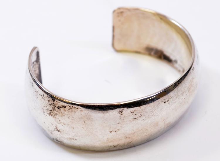 44.8  Gram Navajo Heavy Sterling Silver Modernist Cuff Bracelet Signed MKM