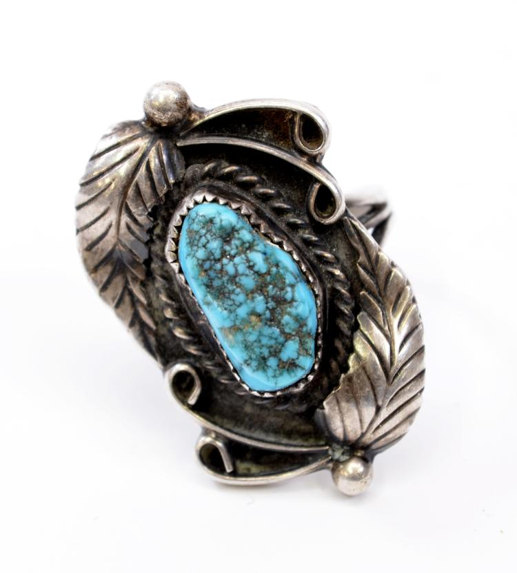 10 Gram Navajo Sterling Silver and Turquoise Ring Sz 7