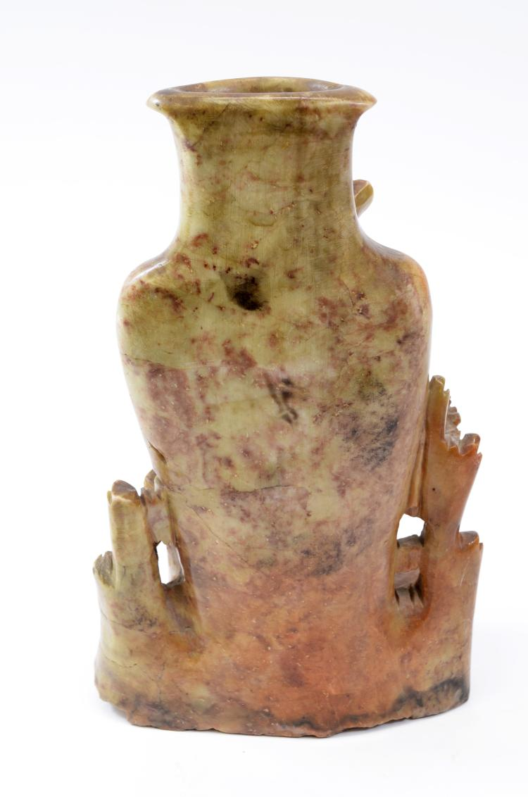 Lot 197: Ornately Hand Carved Soapstone Bird and Flowers Vase