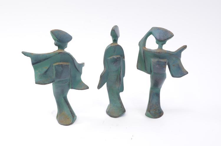 Lot 198: Lot of 3 Modernist Japanese Geisha Woman Cast Bronze Sculptures