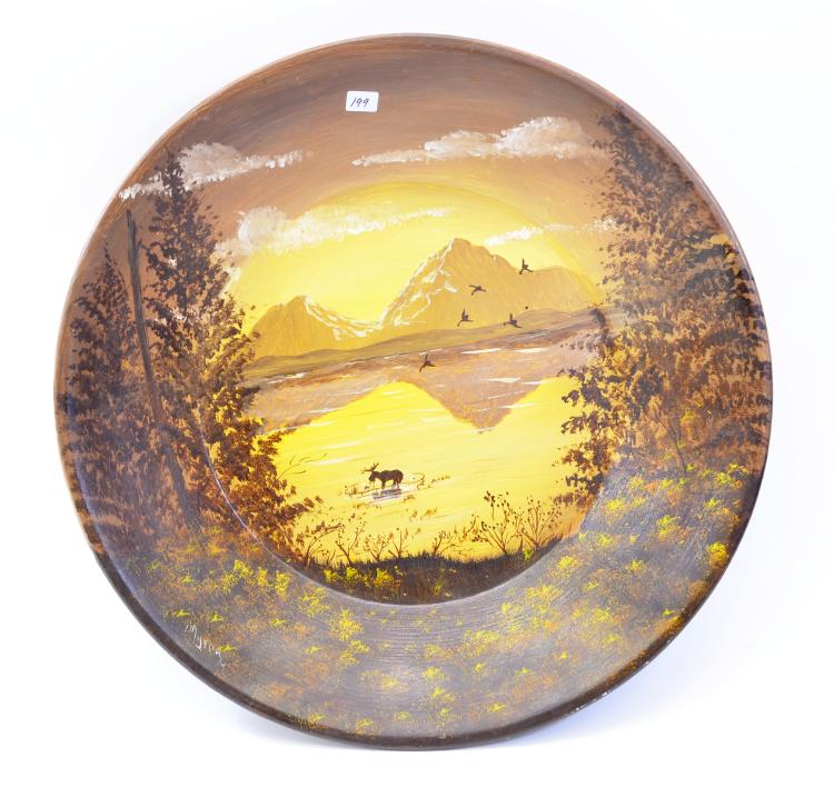 Alaskan Hand Painted Moose  Woodland Scene Gold Pan Signed Myrna