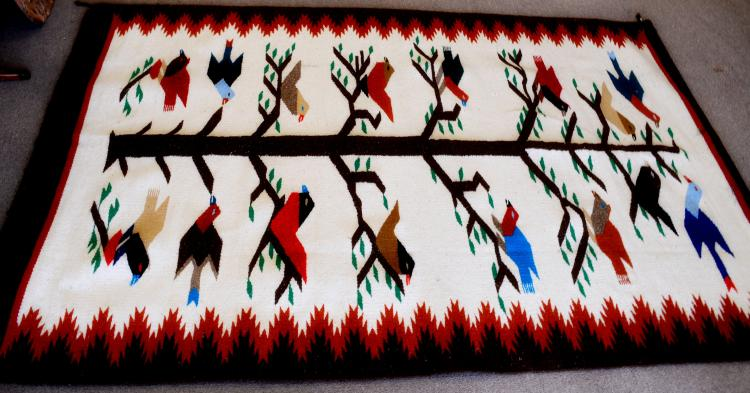 Lot 200: Vintage Mexican Zapotec Large Hand Loomed Tree of Life 16 Bird Rug Tapestry