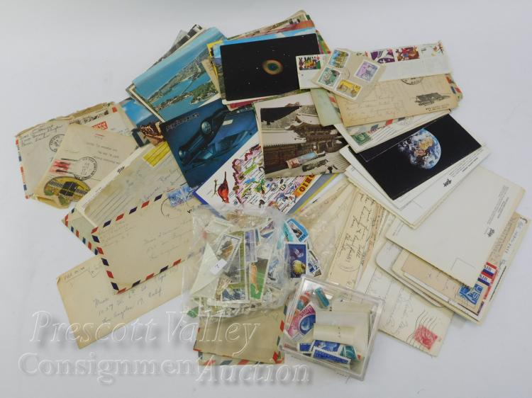 US and Foreign Stamp Collection Including Postcards and Envelopes