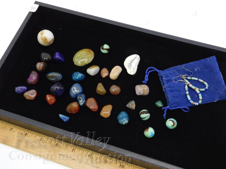 Lot 8: Lot of Polished Rocks Earrings Marbles and Scrimshaw Scene